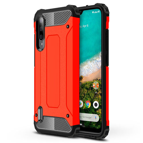 Military Defender Tough Shockproof Case for Xiaomi Mi A3 - Red